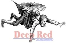 Deep Red Cling Rubber Stamp Rubber Stamp Flying Man