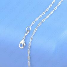 "5PCS 18 inch 925 Sterling silver plating ""Water Wave"" Chain Necklaces Wholesale"
