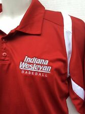 Adidas ClimaCool Indiana Weslyan University baseball red polo shirt sz L large