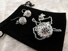 Large Stylish Silver Hollow Ball & Hearts Design Ladies Necklace & Earring Set