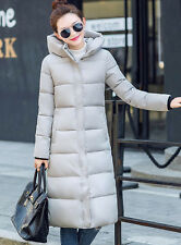 Womens Down Jackets Slim Long Hooded Cotton-Padded Warm Coats Parka Outwear
