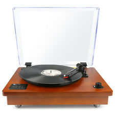 Bluetooth  USB Vintage Wood Turntable Belt Drive Stereo Record Player RCA MP3