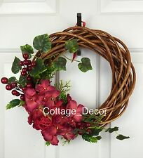 LARGE SILK HYDRANGEA BERRIES HARVEST WREATH HANDMADE DECOR HOME DECORATION