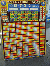 VINTAGE LARGE GAMBLING PUNCH BOARD TRADE STIMULATOR EVERYTHING GOES 5 CENTS