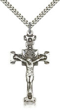 ".925 Sterling Silver Crucifix Pendant For Men On 24"" Chain - 30 Day Money Bac..."