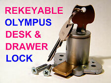 DESK LOCK, HEAVY DUTY, OLYMPUS 4/5-PIN, SATIN FINISH with 2 KEYS (REKEYABLE)