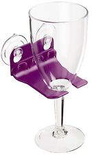 WaveHooks Bathtub Wine Glass Holder Bathroom Suction Cup Rack Plate Relax Purple