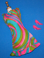 Vintage & MOD Barbie Swirly Cue #1822 Crisp Dress 1968 CT Hot Pink Heels