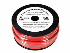 12 Gauge Tinned Marine Primary Wire / Red / 50 Foot Reel