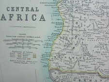 1910 MAP ~ CENTRAL AFRICA BELGIAN CONGO RHODESIA EUROPEAN POSSESSIONS