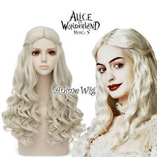 Light Blonde 65CM Long Alice In Wonderland 2 White Queen Curly Anime Cosplay Wig