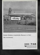 SKYWAYS OF LONDON HAWKER SIDDELEY 748 CONGRATULATIONS ON 10TH ANNIVERSARY AD