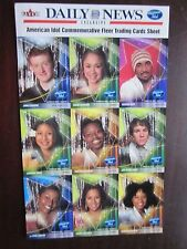 2004 American Idol Commemorative Trading Cards Sheet Jennifer Hudson Fleer