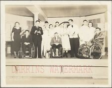 Vintage Photo Theater Men Acting Handicap in Wheelchairs & Pretty Girls 736301