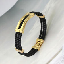 Silver&Gold&Black Fashion Stainless Steel Wire Mens Womens Bangle Bracelet Hot