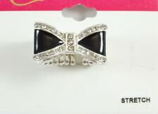 Beautiful New Silver & Black Bow Stretch Ring with Crystals NWT #R1213