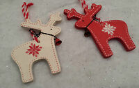 2 x Nordic Reindeer Wooden Christmas Tree Decoration Red & White Heaven Sends