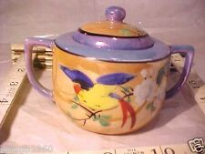 Vintage Orange Blue & Gold Lustreware Lidded 2 Handle Sugar Bowl   Made in Japan