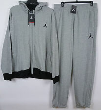 NIKE AIR JORDAN FLEECE SWEATSUIT HOODIE +PANTS GREY BLACK RARE (SIZE 4XL / 3XLT)