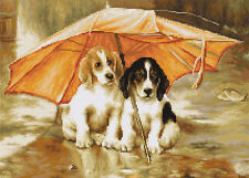Cross Stitch Kit Coupel under anUmbrella 2  Luca-s Anchor threads (dogs)
