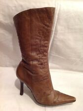 River Island Brown Mid Calf Leather Boots Size 7