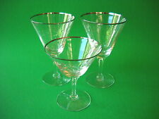FOSTORIA VINTAGE FLORAL ETCHED SILVER RIMMED CRYSTAL GLASSES 3  in all MARKED