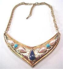 Vtg Avon Egyptian Revival Hammered Gold Tone Cabochon Choker Necklace *
