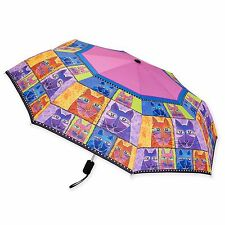 Laurel Burch Patchwork Cats Brights Fushia Compact Umbrella Auto Open Close New