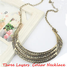 TOP Sale Vintage Metal Collares Three Layers Half Moon Gold Statement Necklace