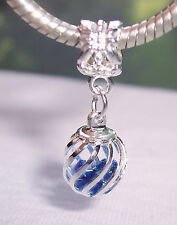 Caged Blue Crystal September Birthstone Dangle Bead fits European Charm Bracelet