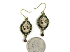 Antique Gold Brown Cameo Dangling Earrings