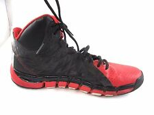 Adidas size 10M mens tennis sneakers Basketball black red leather hightops