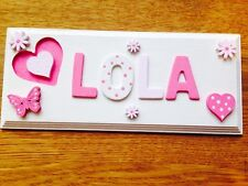 Personalised Children Bedroom Nursery Wooden Name Door Wall Sign Plaque Girl