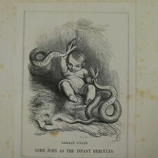 """7x10"""" punch cartoon 1850 LORD JOHN AS THE INFANT HERCULES slave trade / national"""