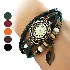 Women's Bohemian Leaf Pendent Leather Weave Bracelet Quartz analog Wrist watch