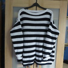 M&S Collection 100% cotton Navy/White stripe jumper size 20 immaculate