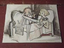 CUTE LITTLE VINTAGE 1920'S - 1930'S HAND WATERCOLORED GET WELL CARD