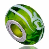 5Pcs green murano glass beads lampwork beads European charms for Bracelet