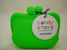 Authentic New CANDY STORE Lime Green Silicone Framed Coin Purse/Pouch