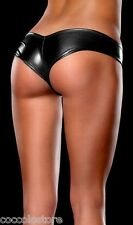 Sexy Clubwear Intimo Lingerie Mini Shorts Pants Neri PVC WetLook Metallizzato