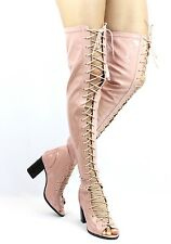 Cape Robin April-1 Lace Up High Heel Patent Thigh high over the knee boots
