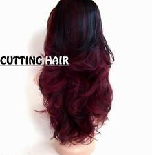 Black Purple Burgundy Mix 3/4 Wig Long Curly Layered Half Wig 8802-1b/118