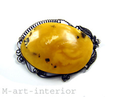 Antike Bernstein Brosche Butterscotch Egg Yolk Real Baltic Amber Brooch Antique