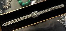 "VINTAGE ESTATE ART DECO 14K WHITE GOLD FILIGREE DIAMOND SAPPHIRE BRACELET 7"" 585"