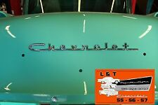 1957 Chevy Chrome Script 210 150 V 8  Hood Trunk Sedan Hardtop Wagon Convertible