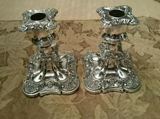 Silverplated Old English Reproduction Viking Plate Square Candle Holders