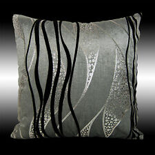 ABSTRACT SILVER BLACK CURVE GRAY VELVET THROW PILLOW CASE CUSHION COVER 17""