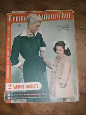 Femmes d'aujourd'hui N° 437 1953  Mode vintage  patrons Couture Broderie Robe