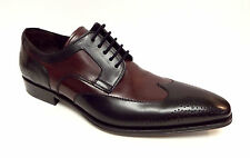 New MEZLAN Size 11.5 LINCOLN Black / Burgundy Wingtip Oxfords Shoes 11 1/2