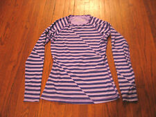 Women's Nike Pro Combat Purple Thermafit Top Thumb Hole Fitted Shirt sz S